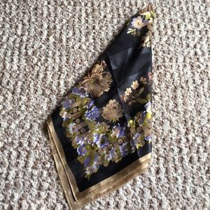 Large silky gold and black floral scarf